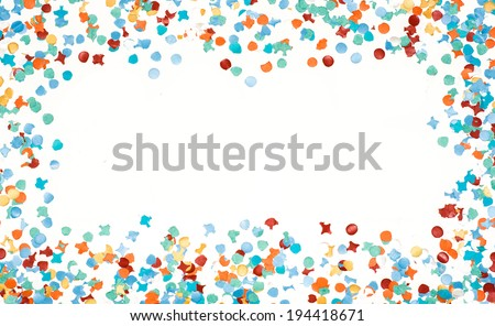 Carnival party frame made with recycled paper colorful confetti isolated white