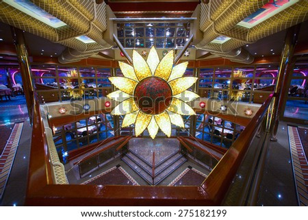 "CARNIVAL ""VALOR"" - 4AM. JUNE 5, 2008: Cruise ship's main dining room entrance. Over 1,000 seats are awaiting for new guests. - stock photo"