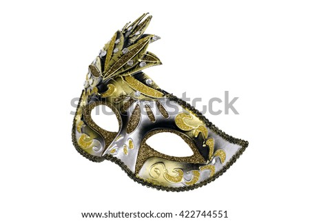 Carnival Venetian mask isolated on white background. - stock photo
