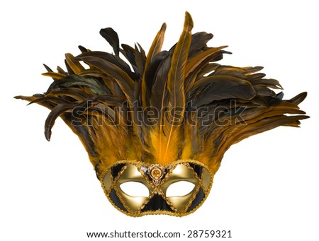 carnival venetian mask with feathers isolated over white with clipping path