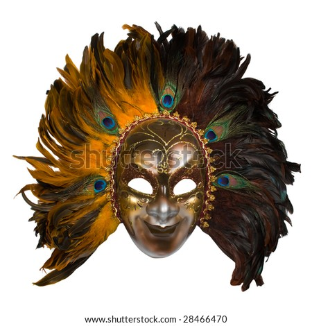 carnival venetian mask with peacock feathers isolated over white with clipping path