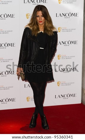 Caroline Flack arriving for the Lancome pre BAFTA party at the Savoy Hotel in London, 10/02/2012  Picture by: Simon Burchell / Featureflash