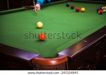 Carom billiards straight single shot - stock photo