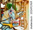 Carousel -  Fair conceptual background with horses - stock photo