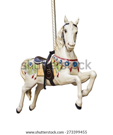 Carousel horse isolated on white background - stock photo