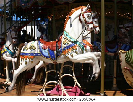 Carousel horse on Pier 39 in San Francisco California - stock photo