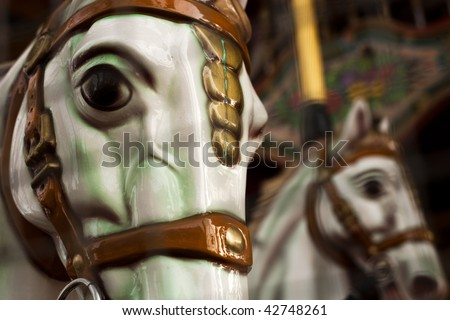 Carousel Horses. The one in the backgroud is defocused.