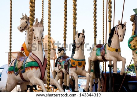 Carousel in Barfleur, Normandy, France - stock photo