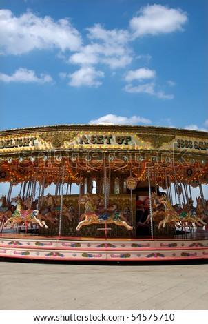 Carousel on Brighton Beach, England - stock photo