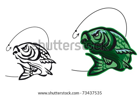 Carp fish as a fishing symbol isolated on white - also as emblem. Vector version also available in gallery - stock photo