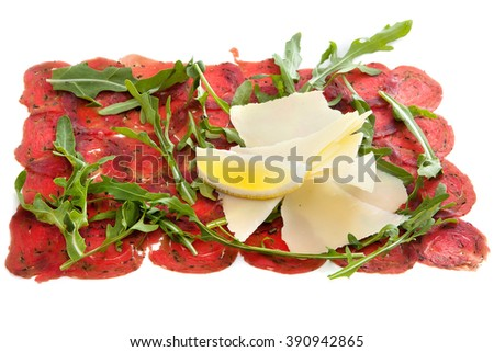carpaccio with parmesan and arugula