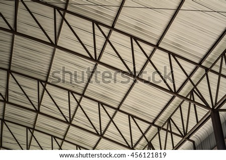 carpark Detail of Metal roof construction - stock photo