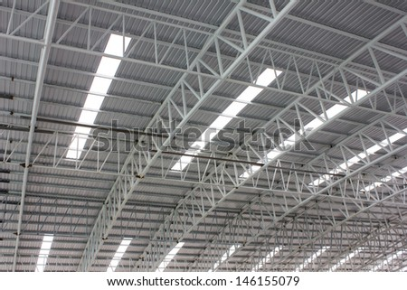 carpark metal roof structure - stock photo