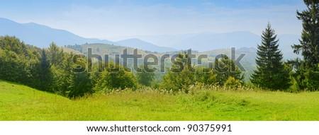 Carpathian mountain summer landscape with blue sky - stock photo