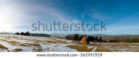 Carpathian mountain valley covered with fresh snow. Majestic landscape. Ukraine, Europe - stock photo