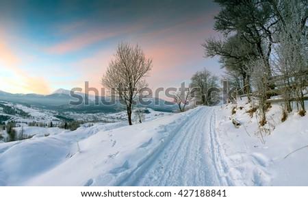 Carpathian mountain valley covered with fresh snow. Majestic landscape. Ukraine, Europe - stock photo