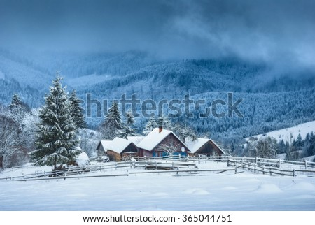 Carpathian mountain village covered by fresh january snow. Winter landscape. Ukraine, Europe