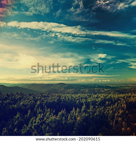 Carpathian mountains summer  retro sunset landscape with blue sky and green forest - stock photo