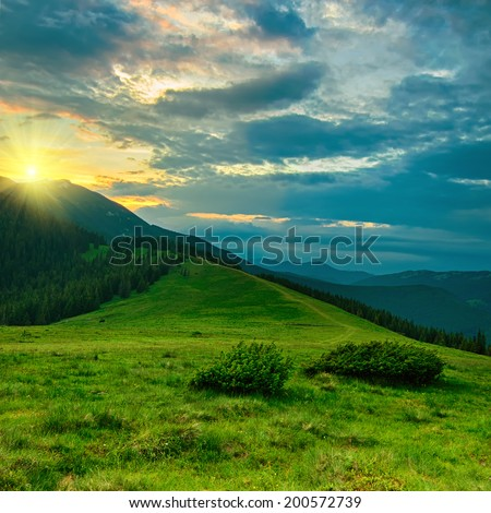 Carpathian mountains summer  sunset landscape with blue sky and green meadow