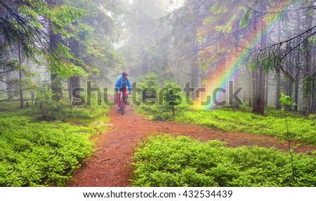 Carpathian rain in wild forest - an extreme mountain bike race for MTB, check the quality of machinery and equipment, modern technologies provide comfort and safety of the racers Ukraine