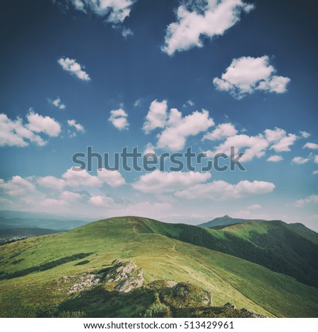 Carpathians mountain in summer time, toned like instagram filter