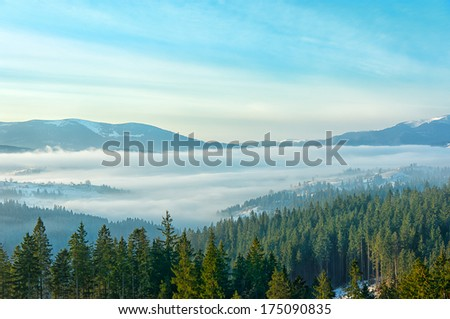 Carpathians Mountains at early winter morning - stock photo