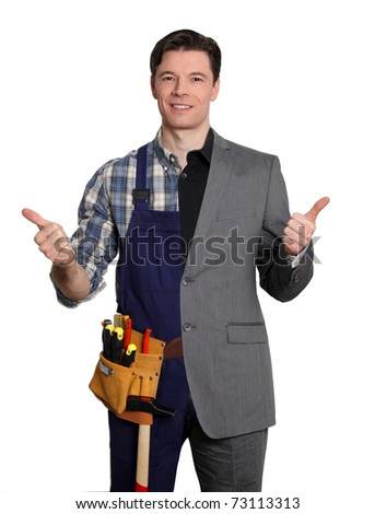 Carpenter and businessman on white background