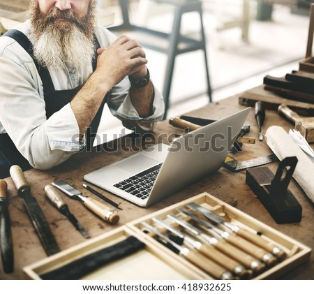 Carpenter Craftsman Handicraft Occupation Skill Concept - stock photo