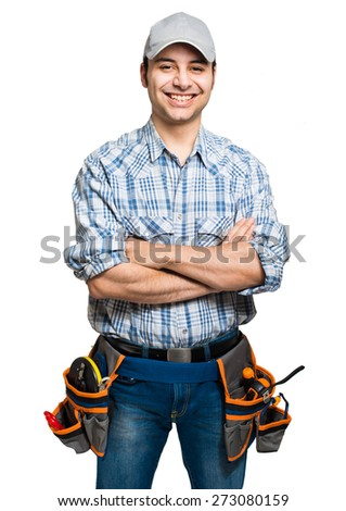 Carpenter isolated on white - stock photo