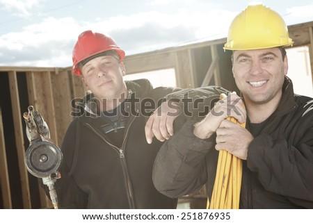 carpenter photo - A construction  men working outside - stock photo