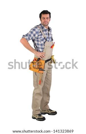 Carpenter posing - stock photo