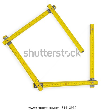 Carpenter rule meter on white. Clipping path - stock photo