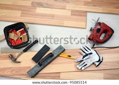 Carpenter's floor equipment - stock photo