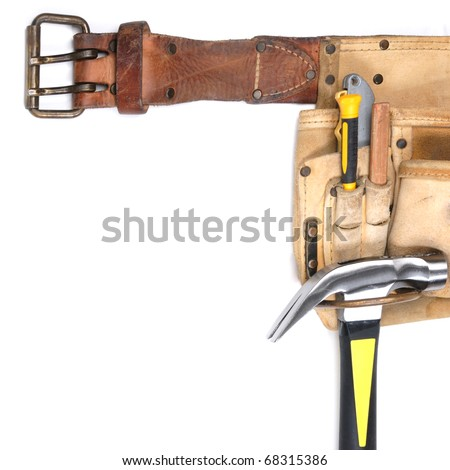 Carpenter's tool belt closeup with tools isolated on white - stock photo