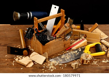carpenter's tool on a workbench  - stock photo