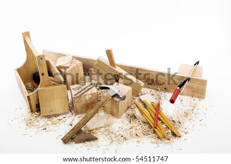 carpenter's tools on a workbench - stock photo