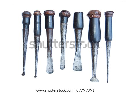 carpenter tool isolated white - stock photo