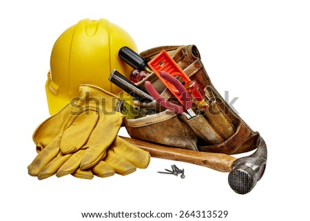 Carpenter tools, hammer, nails, screws, level, tape measure, screwdrivers, pliers and hacksaw isolated on black background - stock photo