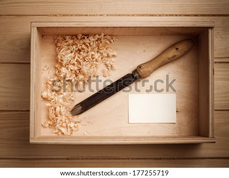 carpenter tools in wooden box  - stock photo