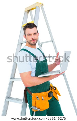 Carpenter using laptop on white background