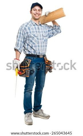 Carpenter with his tools isolated full length - stock photo