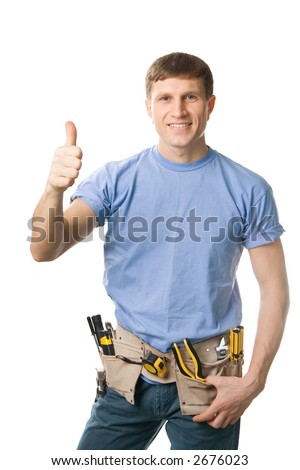 Carpenter with thumbs up sign, isolated on white - stock photo
