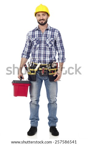 Carpenter with toolbox - stock photo
