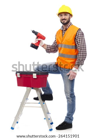 Carpenter with tools - stock photo