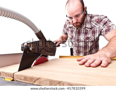 carpenter work with table saw isolated on white background