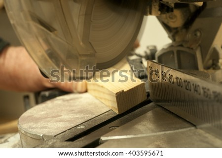 Carpenter working. Carpenter tools on wooden table with sawdust. Carpenter workplace top view - stock photo