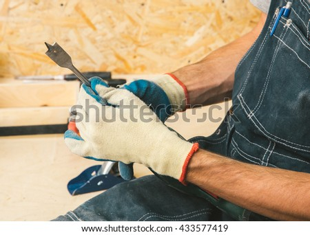Carpenter working hands  - stock photo