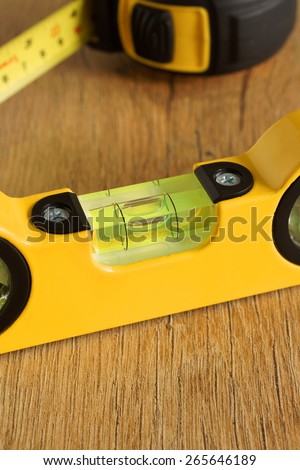 Carpenters spirit level selective focus on the bubble a woodworking or carpentry concept - stock photo