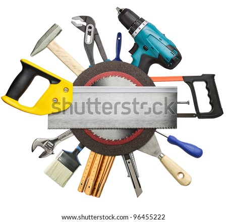 Carpentry, construction tools collage background. - stock photo