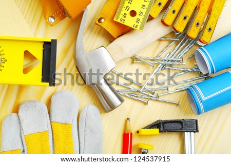 carpentry tools set - stock photo